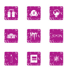 Spring icons set grunge style vector
