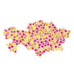 Star collage map of kazakhstan vector