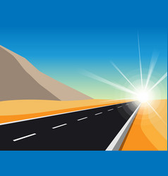 Sunrise road to infinity landscape with highway vector