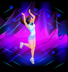 the isometric girl is a dj on the background vector image