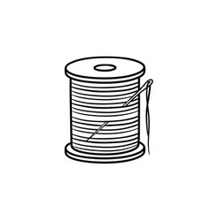 Thread spool with needle hand drawn sketch icon vector