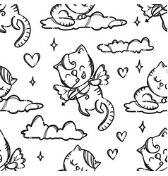 valentine day party cat seamless pattern vector image