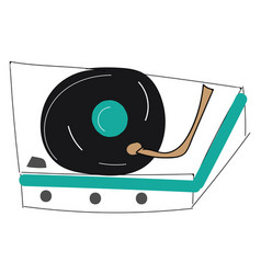 vintage record player on white background vector image