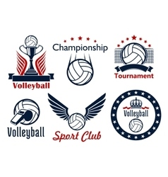 Volleyball tournament and club emblems vector image