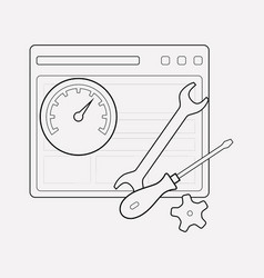 website support icon line element vector image