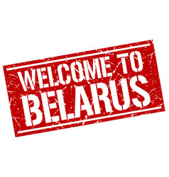 Welcome to belarus stamp vector