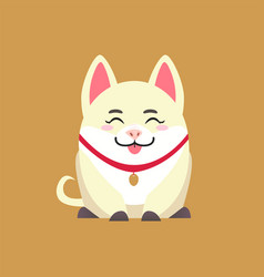white pig with pendant animal show tongue vector image