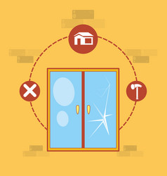 Window with home repair icons vector