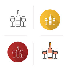 wine and two glasses icon vector image