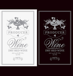 wine labels with bowl fruit berries and lilac vector image