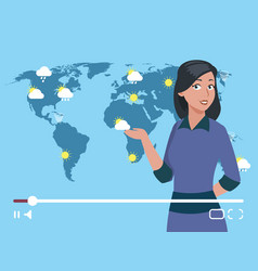 Woman anchorman weather channel vector