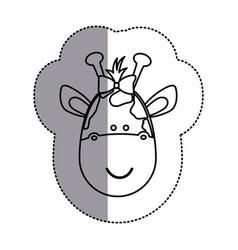 Contour face giraffe ribbon bow head icon vector