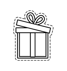 gift box ribbon event celebrate open cut line vector image