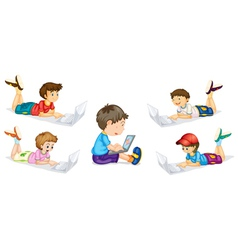 kids and laptop vector image vector image