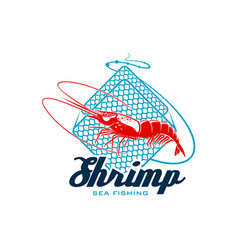 sea fishing sign with shrimp for seafood design vector image vector image