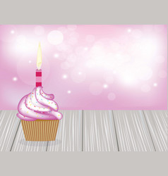 birthday cupcake on wooden planks vector image