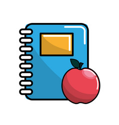 color notebook and apple icon vector image