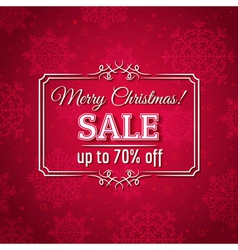 red christmas background and sale offer vector image vector image