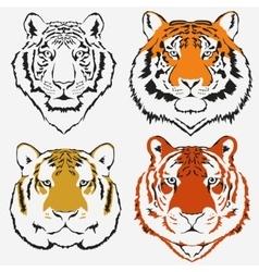 Tiger logo set vector image vector image