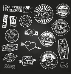 white vintage post stamps collection vector image