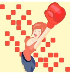 beautiful girl in boxing gloves vector image vector image