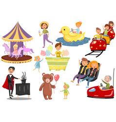 happy people having fun in amusement park set vector image vector image