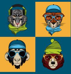 hipster wild animals cartoon vector image