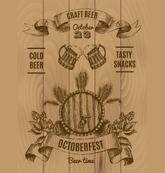 octoberfest vintage poster vector image