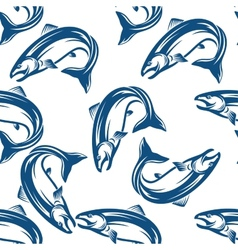 Salmon fish seamless pattern vector image