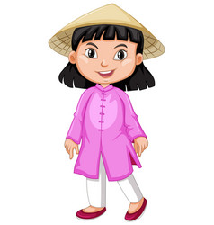 vietnamese girl in pink outfit vector image