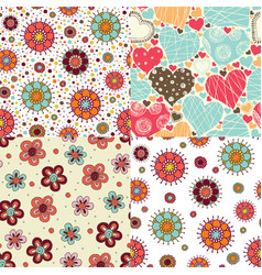 4 bright seamless patterns vector