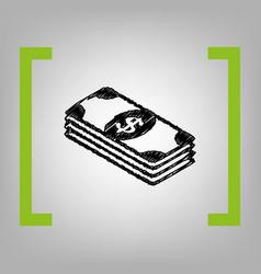 bank note dollar sign black scribble icon vector image