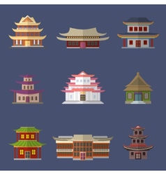 Chinese house icons vector image vector image