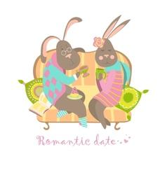Cute bunnies in love vector image