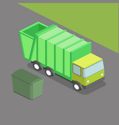 garbage truck isometric vector image vector image