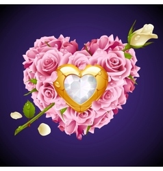 Pink roses in the shape of heart vector