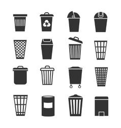 Trash can waste basket and bin garbage vector image vector image