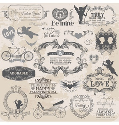 Valentines Day Vintage Set vector image