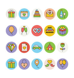 Wedding Colored Icons 1 vector image