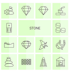 14 stone icons vector image