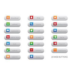 20 web buttons vector image