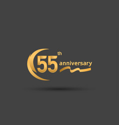55 years anniversary logotype with double swoosh vector
