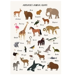 Alphabet animal chart set for kids vector