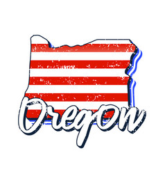 American flag in oregon state map grunge style vector