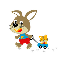 Animals playing time bunny and little tiger vector