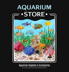 aquarium store poster vector image