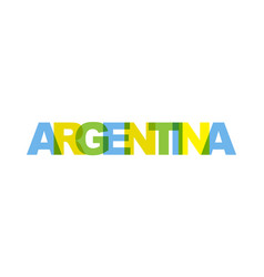 argentina phrase overlap color no transparency vector image