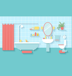Bathroom interior in flat style vector