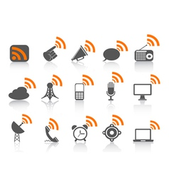 black communication icon with orange rss symbol vector image