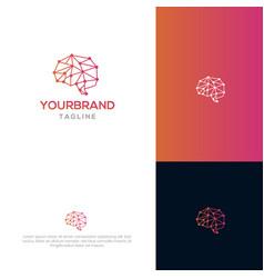 Brain tech logo template vector